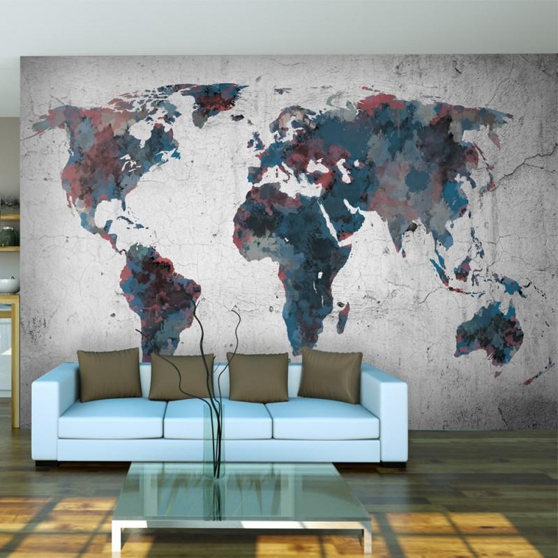 Fototapeta  World map on the wall