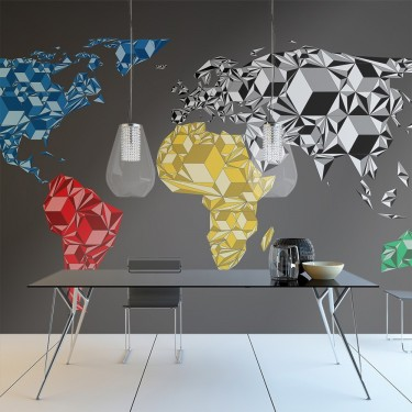 Fototapeta  Map of the World  colorful solids