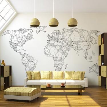 Fototapeta  Map of the World  white solids