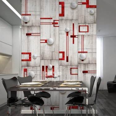 Fototapeta  Beton, czerwone ramki i białe kulki