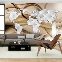 Fototapeta Mapa świata Biały & Diamenty