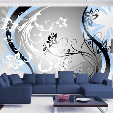 Fototapeta - Kwietne esy-floresy (niebieski)