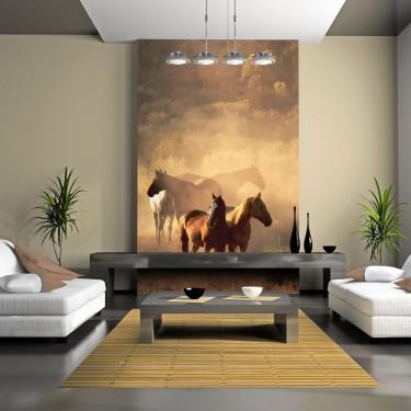 Fototapeta  Dzikie konie na stepie