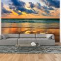 Fototapeta Kolorowy zachód słońca nad morzem