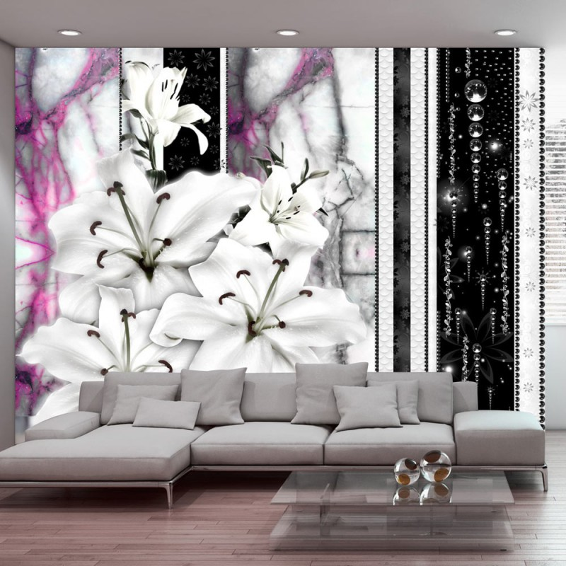 Fototapeta Płaczące lilie na fioletowym marmurze