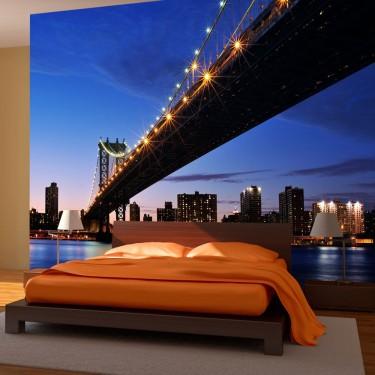 Fototapeta  Oświetlony Most Manhattan Bridge