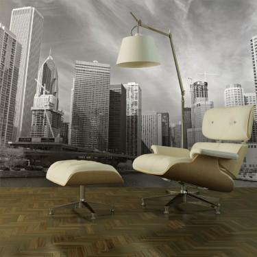 Fototapeta  Panorama Chicago (black and white)