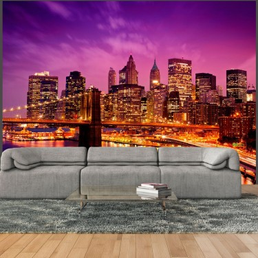 Fototapeta  Manhattan i Most Brookliński nocą