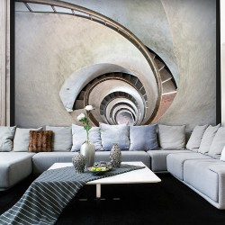 Fototapeta - White spiral stairs