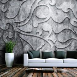 Fototapeta - Srebrne tło z motywem roślinnym