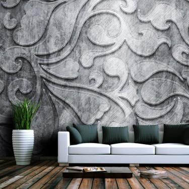 Fototapeta  Srebrne tło z motywem roślinnym