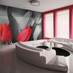 Fototapeta Czerwone tulipany na czarnobiałym tle