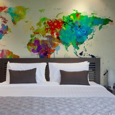 Fototapeta  Paint splashes map of the World
