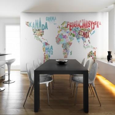 Fototapeta  mapa  świat (po polsku)