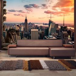 Fototapeta  Nowy Jork wieżowce i zachód słońca