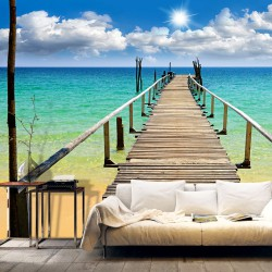 Fototapeta - Plaża, słońce, pomost