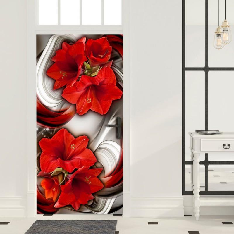 Fototapeta na drzwi  Tapeta na drzwi  Abstrakcja i czerwone kwiaty
