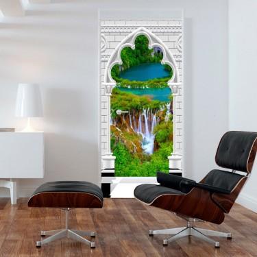 Fototapeta na drzwi  Tapeta na drzwi  Łuk gotycki i wodospad