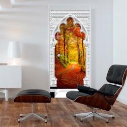 Fototapeta na drzwi Tapeta na drzwi Łuk gotycki i las jesienią