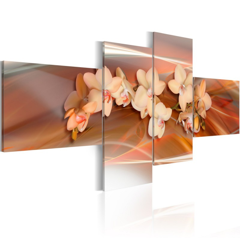 Obraz  Biała orchidea na jesiennym tle