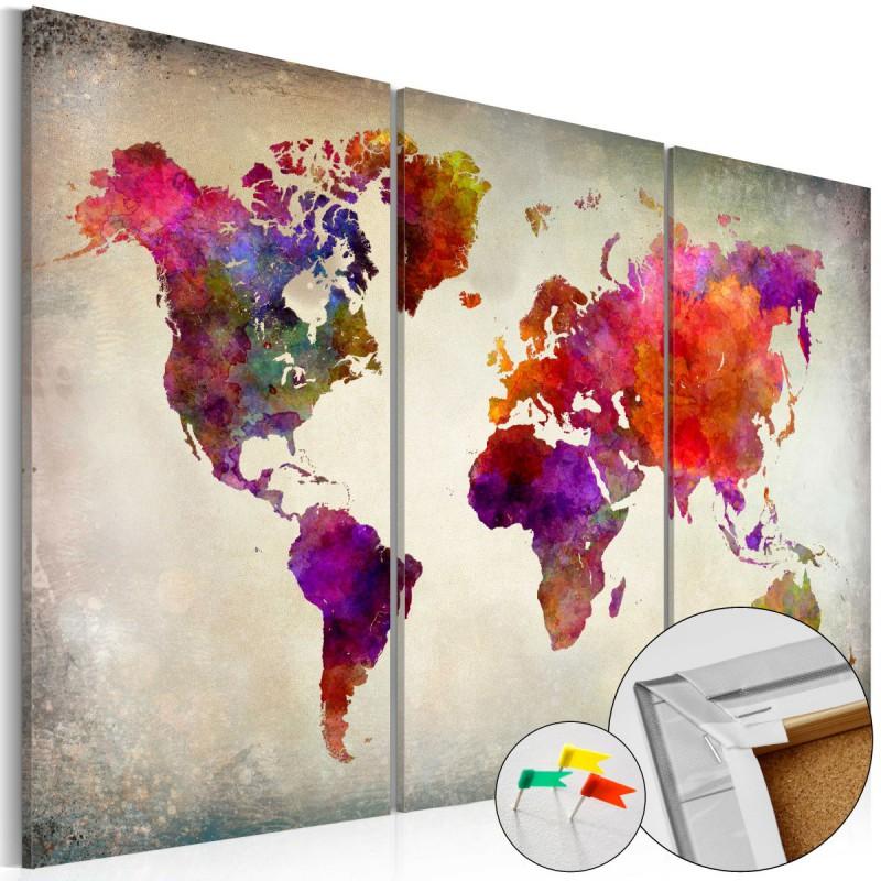 55bc61d885f7a7 Obraz na korku - Mozaika kolorów [Mapa korkowa] Rozmiar 60x40 ...
