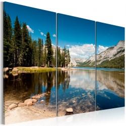 Obraz - Góry, drzewa i krystalicznie czyste jezioro