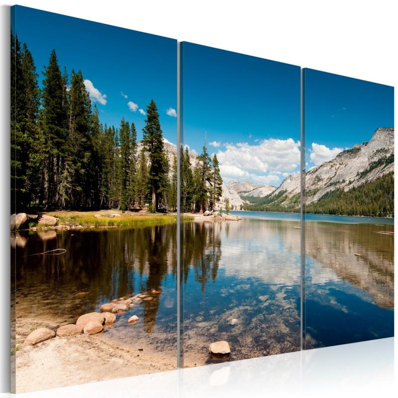 Obraz  Góry, drzewa i krystalicznie czyste jezioro
