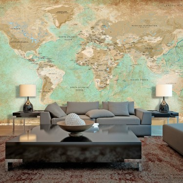 Fototapeta XXL  Turkusowa mapa świata II
