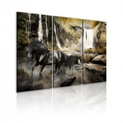Obraz - Czarny rumak i skalisty wodospad