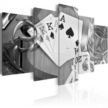 Obraz  Pokerowa noc  motyw czarno biały