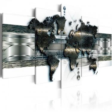 Obraz  Mapa metalowego świata