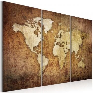Obraz  Mapa świata brązowa tekstura