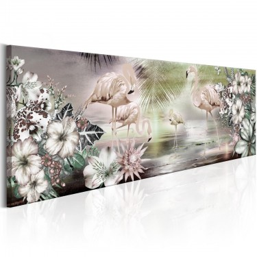 Obraz  Flamingi i kwiaty