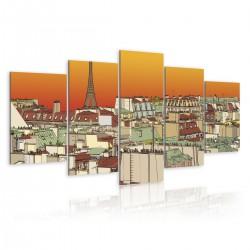 Obraz  Paryskie niebo w kolorze pomarańczy