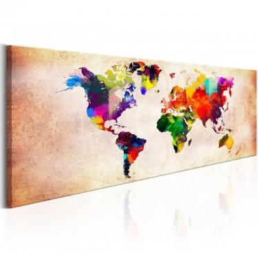 Obraz  Mapa świata Kolorowa włóczęga