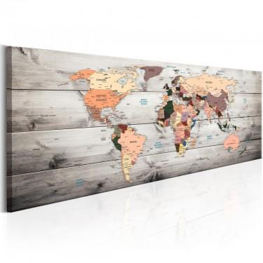 Obraz  Mapy świata Drewniane podróże