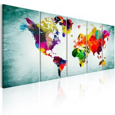 Obraz  Mapa świata zielona winieta