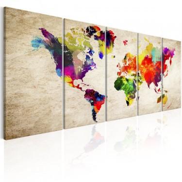 Obraz  Mapa świata Malowany świat