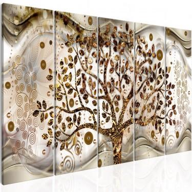 Obraz  Drzewo i fale (5częściowy) brązowy