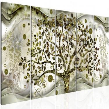 Obraz  Drzewo i fale (5częściowy) zielony