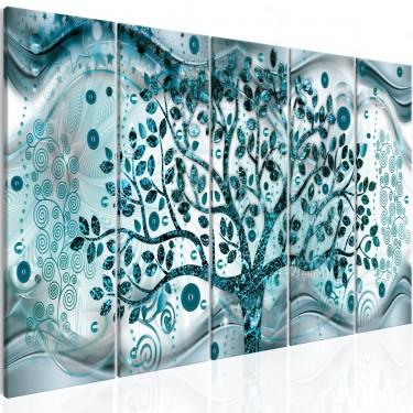 Obraz  Drzewo i fale (5częściowy) niebieski