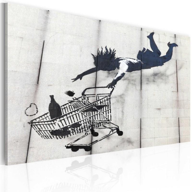 Obraz  Upadająca kobieta z wózkiem na zakupy (Banksy)