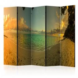 Parawan 5częściowy Zachód słońca na Tahiti II [Room Dividers]