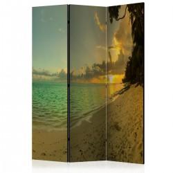 Parawan 3częściowy Zachód słońca na Tahiti [Room Dividers]