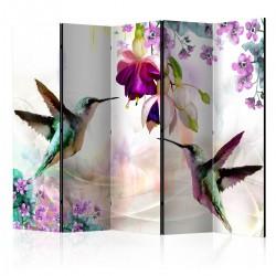 Parawan 5częściowy Kolibry i kwiaty II [Room Dividers]