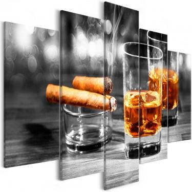 Obraz  Cygara i whisky (5częściowy) szeroki