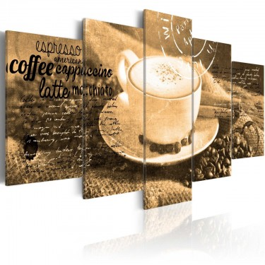 Obraz  Coffe, Espresso, Cappuccino, Latte machiato ...  sepia