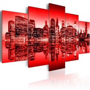 Obraz  Czerwona poświata nad Nowym Jorkiem  5 częsci