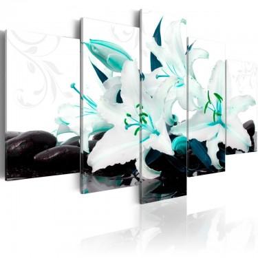 Obraz  Turkusowe lilie i kamienie