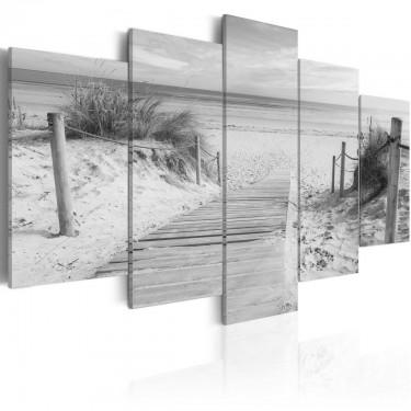 Obraz  Poranek na plaży   czarnobiały
